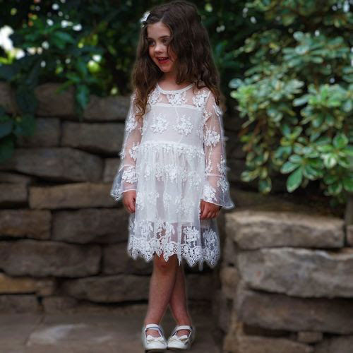 a white lace A-line dress