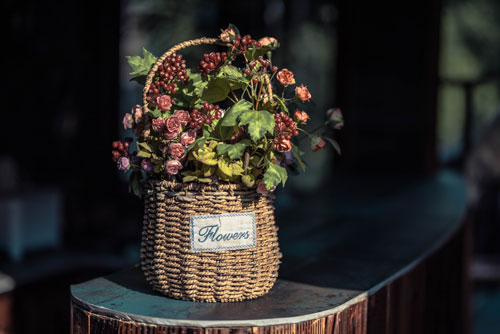 A basket with flowers in it