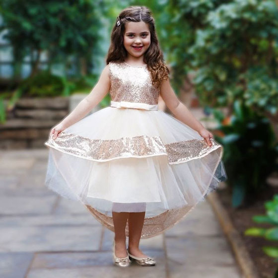 a rose gold dress for little girls